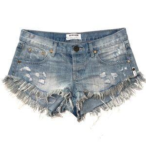 One Teaspoon Bonitas Raw Hem Denim Shorts